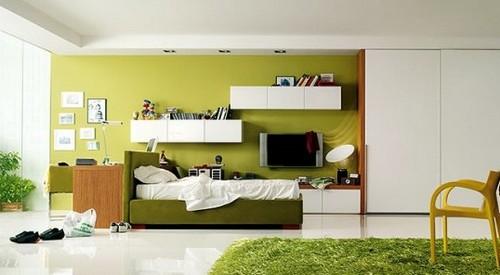 Весенний дизайн интерьера в зеленом цвете