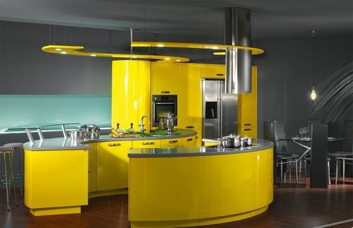 Дизайн кухни в желтом цвете
