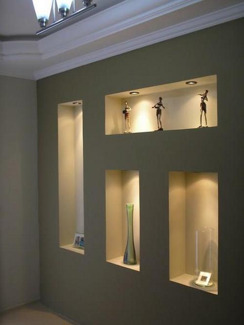 Интерьерные ниши из гипсокартона с подсветкой