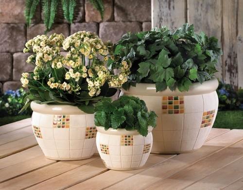 Керамические садовые горшки