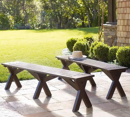Деревянная скамейка для дачи без спинки