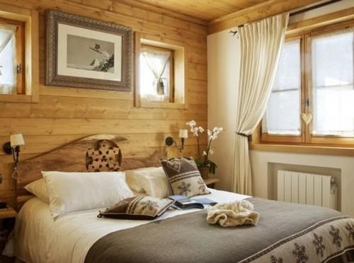 Интерьер спальни в стиле шале фото