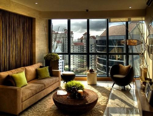 Коричнево зеленый интерьер гостиной