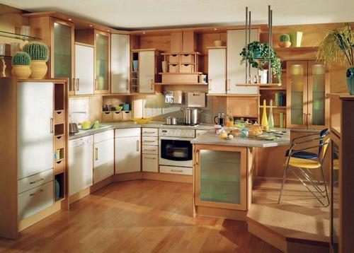 зелено коричневая кухня