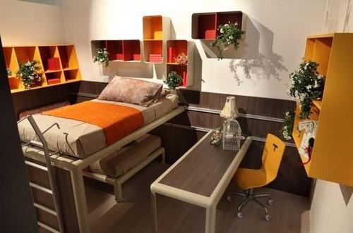 Коричнево-оранжевый интерьер детской комнаты