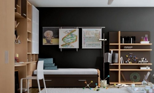 Коричневый  цвет в интерьере детской комнаты