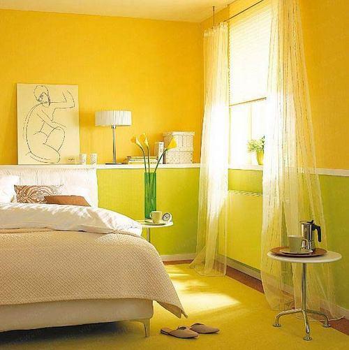 Желтый цвет в интерьере спальни фото