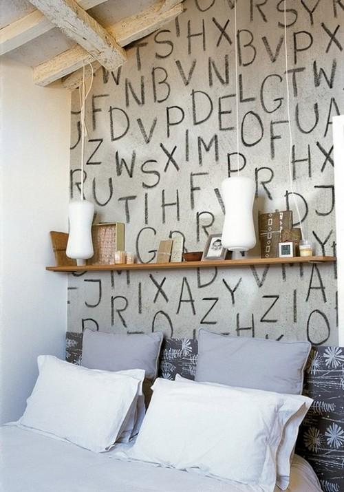 Буквы в винтерьере спальни фото