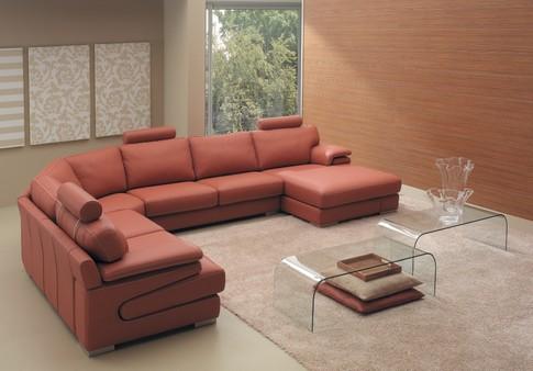 Угловой терракотовый диван
