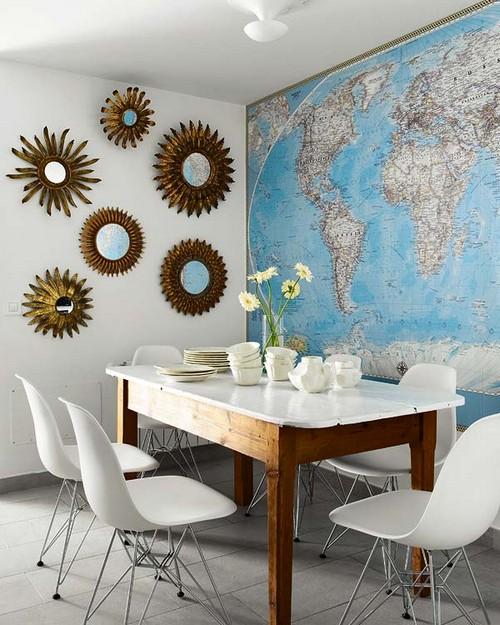 Карта мира в интерьере столовой