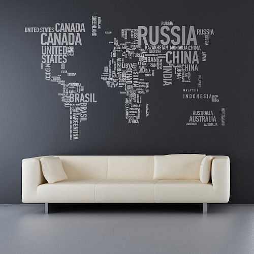 Карта мира в интерьере фото