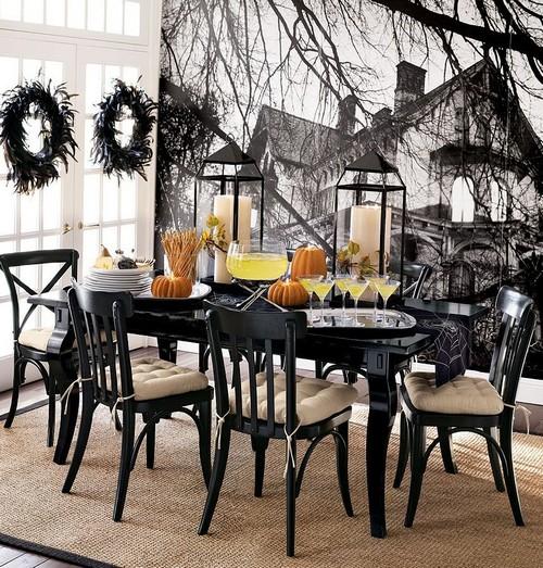 Оригинальное тематическое украшение стола на Хэллоуин