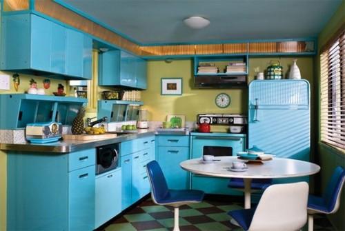 Холодильник для голубой кухни в стиле ретро