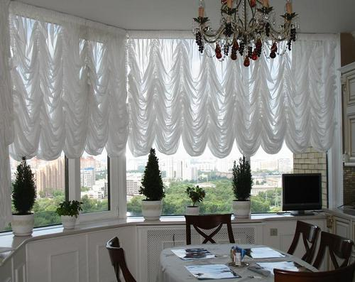 Белые французские шторы фото