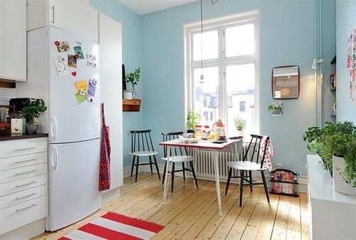 Голубой цвет сочетание в интерьере кухни
