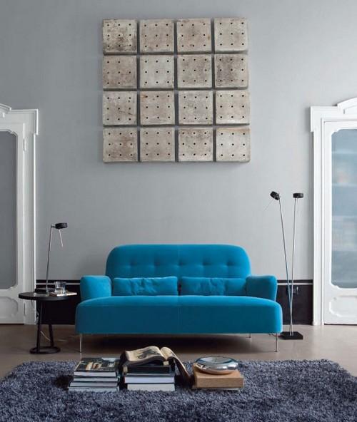 Серо-голубой интерьер фото