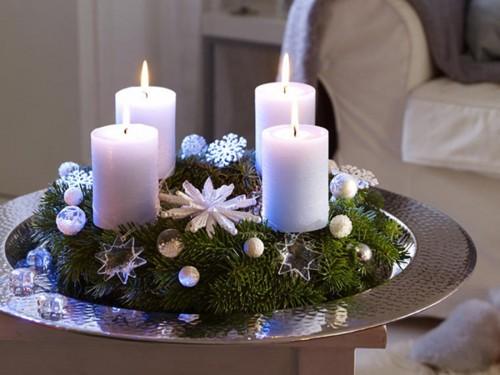 Новогодний декор со свечами фото