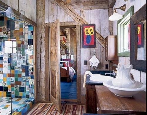 Кафельная плитка в ванной в стиле пэчворк