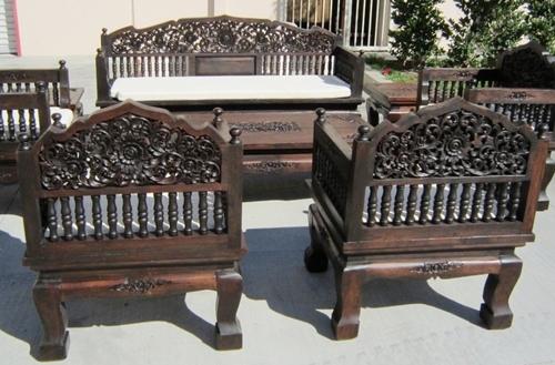 Садовая резная мебель из дерева