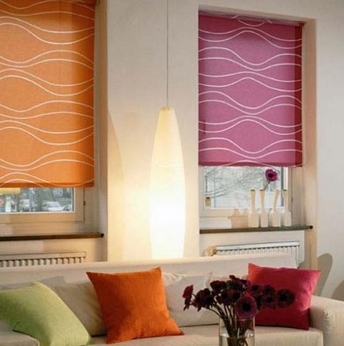 Цветные рулонные шторы с узором