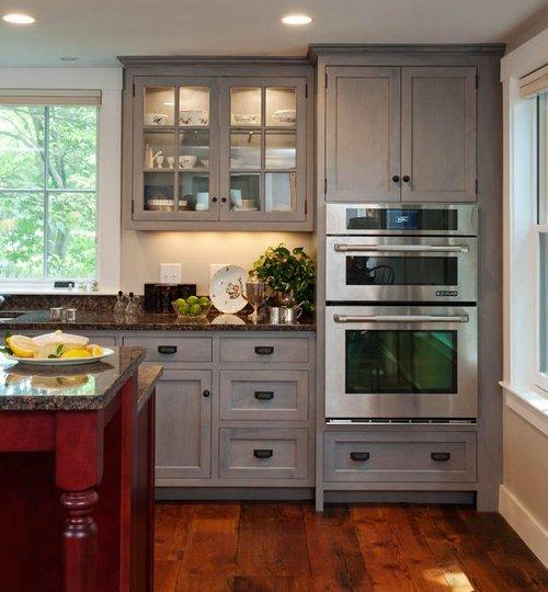 Gray Stained Kitchen Cabinets Kitchen Grey Distressed: Встраиваемые микроволновые печи: основные функции и