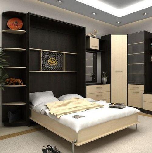 Встроенная кровать в шкаф фото