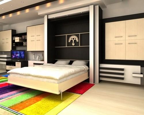 Кровать двуспальная встроенная в шкаф