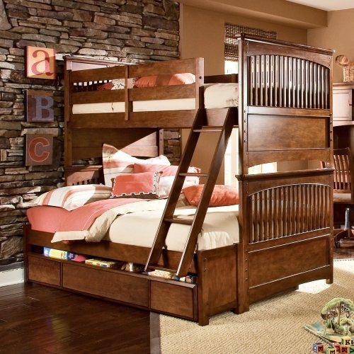 Двухъярусная детская кровать с ящиком для белья