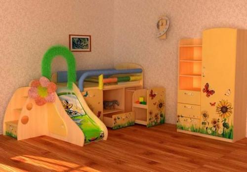 Детская кровать-чердак со шкафом и горкой