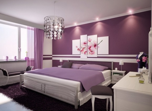 Серо-фиолетовый интерьер спальни