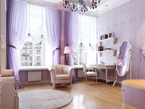 Сочетание серого цвета в интерьере с нежно-фиолетовым