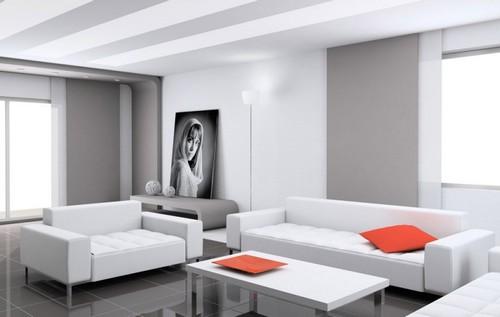 Серо-белый интерьер гостиной