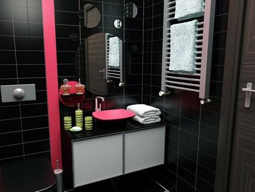 Дизайн черной ванной комнаты с розовым
