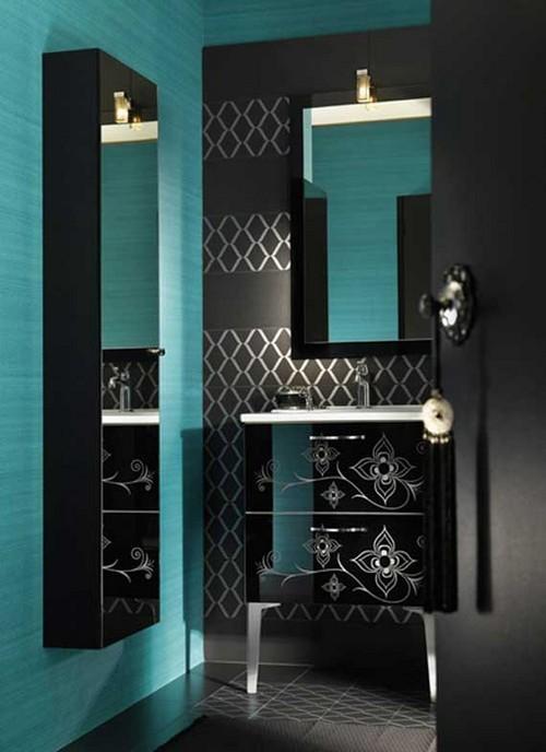 Ванная комната в черном и бирюзовом цвете