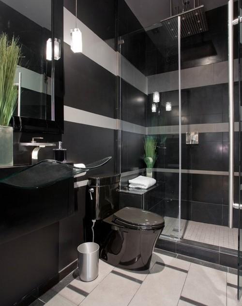 Унитаз черного цвета в ванной фото