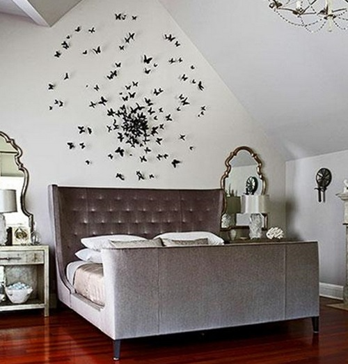 Оформление интерьера спальни бабочками