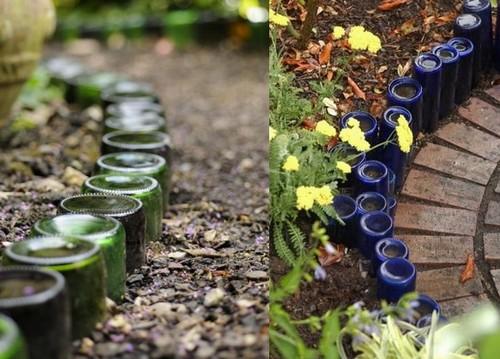 Бордюры в саду из стекляных бутылок