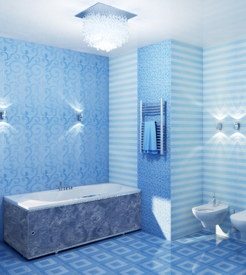 Отделка ванной комнаты обоями фото