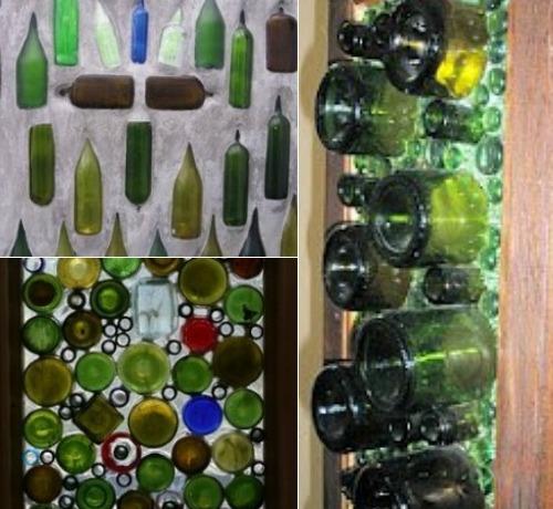 Панно из стеклянных бутылок в интерьере