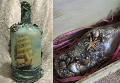 декорирование бутылок в морском стиле