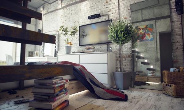 Современный интерьер в стиле лофт фото