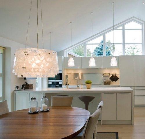 Подсветка рабочей области кухни подвесными лампами