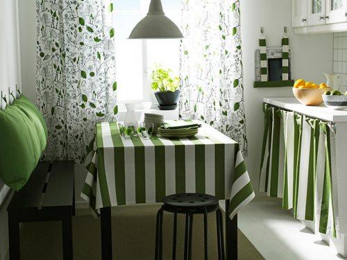 Текстиль для кухни сочного зеленого цвета