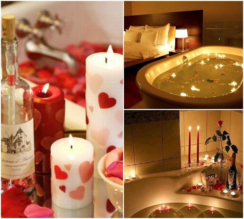 Свечи для романтического вечера в ванной фото