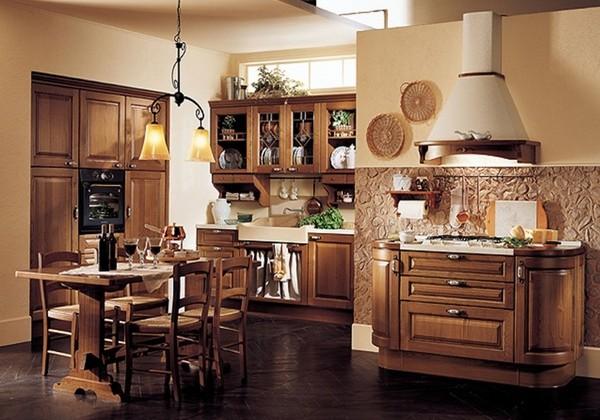 Классическая кухня с мебелью из дерева фото