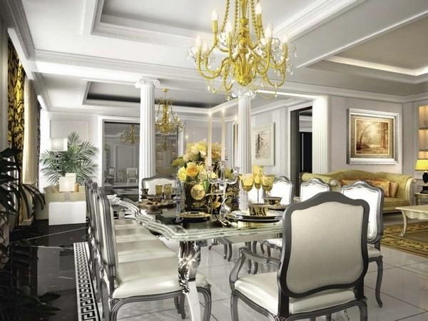 Гостиная и столовая в классическом стиле фото