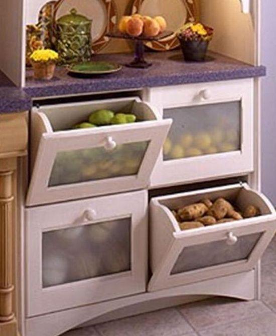Ящики для хранения овощей на кухне фото