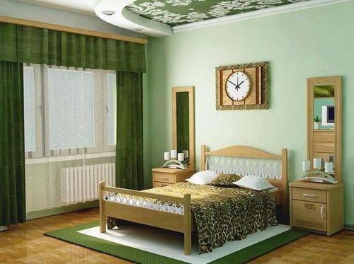 Зеленые шторы для спальни