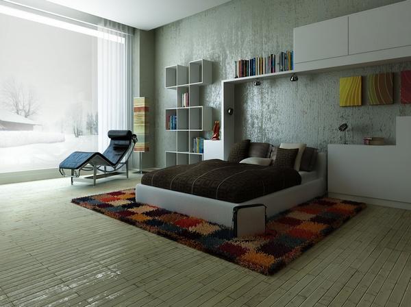 спальня с большим окном