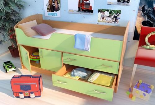 Кровать с выдвижными и распашным ящиком для детских вещей